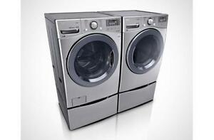 https://aniks.ca/ LG WM3770HVA-DLEX3570V Steam Washer Dryer Pair Shown with optional drawers. (416) 901 7557*