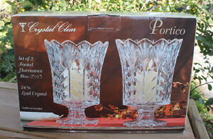 "Crystal Clear ""Portico"" -  Set of 2 Footed Hurricanes 7½"""