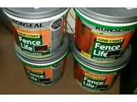 4x 5 litre Ronseal One Coat Fence Life Dark Oak Exterior Wood Paint Brush On