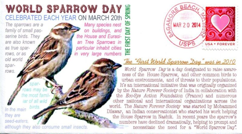 "COVERSCAPE computer designed ""World Sparrow Day"" 2014 event cover"