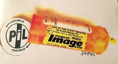 PIL JOHN LYDON CONCERT GIG POSTER Signed #d PUNK Sex Pistols Public Image Ltd