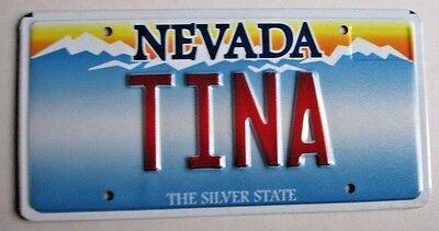 "NEVADA  Vanity License Plate "" TINA "" TEENA TIN TIN CHRISTINA"