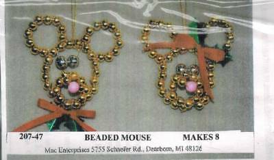 Beaded Mouse Ornament KIT Makes 8 Christmas Craft Kids Holiday Bazaar Projects