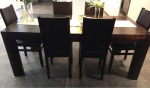 Brazilian hardwood Urban barn dining chairs x6