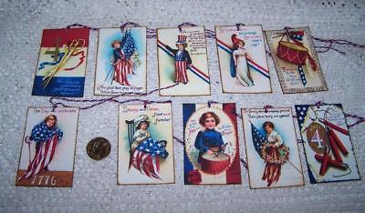 Vintage~4th of July~Patriotic~Ellen Clapsaddle~Linen Cardstock~Gift~Hang~Tags - Vintage 4th Of July