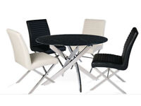 Designer Scuro Solid Black Marble and Chrome Dining Table & 4 Scuro Chairs.