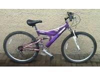 Ladies or girls teenagers mountain bike. 26 inch wheel full suspension.