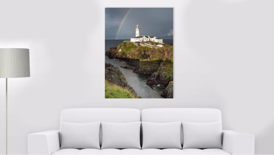 "Beautiful 30x40 inches Canvas Print of ""Rainbow over Fanad Head Lighthouse"""