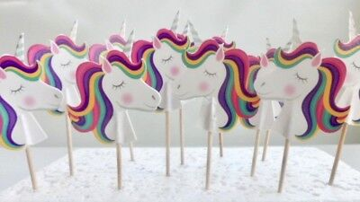 Unicorn Cupcake Toppers.Cake Pop, Cake decor, party supplies 12 - Cake Pops Supplies