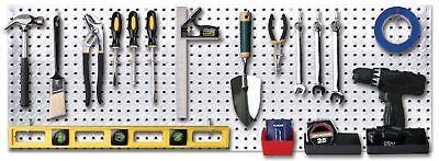 14 Metal Diamond Plate Peg Board Tool Hanger Garage Shop Shed Wall Organizer