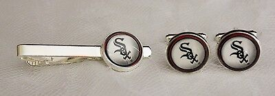 Chicago White Sox Cuff Links & Tie Clip Set made from Baseball Trading -
