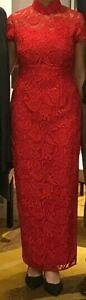 Red Crochet Lace QiPao/Traditional Chinese Bridal Dress