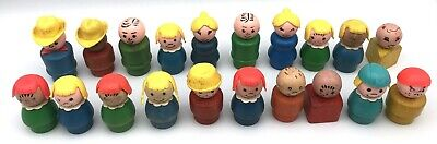 Vintage Fisher Price Little People Lot of 20 WOOD FIGURES
