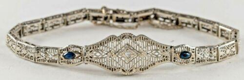 Antique Edwardian 14K White Gold Filigree  Bracelet w Diamond & Sapphires