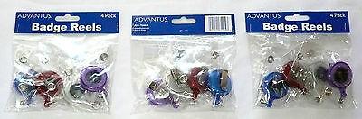 Lot Of 12 Advantus Badge Reels Clip Red White Blue Purple Avt-75464 New