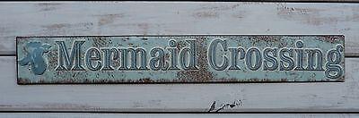 MERMAID CROSSING = Beach Nautical Mystical = Bathroom Wall Decor = Metal Sign