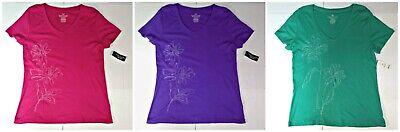 2 Organic Womens T-shirt - Organic Cotton Women's Embroidered V-Neck T-Shirt w/ Studded Flowers M XL 2X
