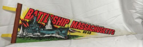 "Vintage 25"" BATTLESHIP MASSACHUSETTS BB 59 Two Tassel Pennant Fall River, Mass."