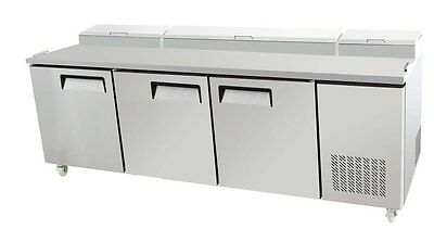 New 93 Three 3 Door Refrigerated Pizza Salad Prep Table 26 Cu. Ft. Restaurant