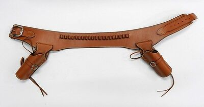 Western Leather Doble Gun Holster Belt Brown Fast Draw Colt SAA45 Size M