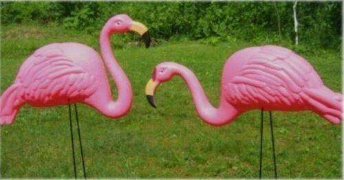 2 Bright Pink Flamingo Lawn Garden Flowerbed ...