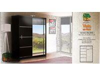 VISTA BLACK 150 Sturdy Free Standing Wooden Sliding Door Wardrobe SLIDER