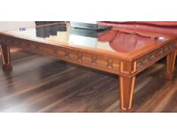 Coffee Table Solid Wood with glass mirror top