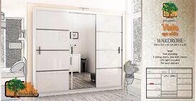 VISTA WHITE 250cm Sturdy Free Standing Wooden Sliding Door Wardrobe SLIDER