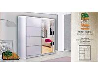 VISTA WHITE 203 Sturdy Free Standing Wooden Sliding Door Wardrobe SLIDER