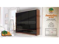 AMSTERDAM BLACK 250cm Sturdy Free Standing Wooden Sliding Door Wardrobe SLIDER