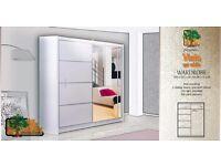 VISTA WHITE 150 Sturdy Free Standing Wooden Sliding Door Wardrobe SLIDER