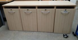 Beech Wooden Unit With 4 Pull Out Filing Drawers