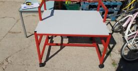 Small Metal Table On Castors ( Red Frame )