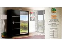 VISTA BLACK 180 Sturdy Free Standing Wooden Sliding Door Wardrobe SLIDER