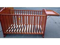 Quality Pine Cotbed with Changing Table