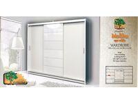 MALIBU WHITE250cm Sturdy Free Standing Wooden Sliding Door Wardrobe SLIDER