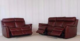 Designer Brown leather 3 seater + 2 seater sofa (314) £999