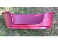 PLASTIC OVAL RED DOG BASKET / BED & FEEDING BOWL FOR SALE