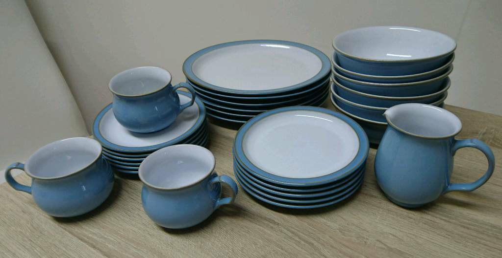 Denby Blue Dinner Service Set Plates Bowls Cups Colonial Crockery 27 ...
