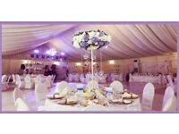 Full luxury Hall decorations for 100 people inc LED twinkle dance floor&curtain, charger plates £600