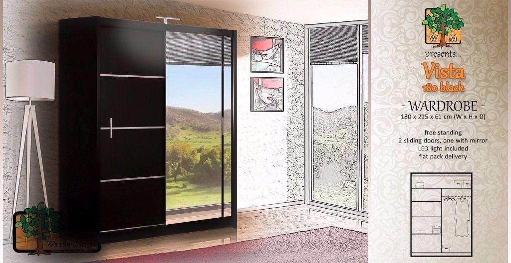 Vista Black 180 Sy Free Standing Wooden Sliding Door Wardrobe Slider