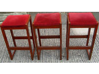 SET OF 3 TALL WOODEN PUB STOOLS: MAN CAVE, HOME BAR, MICROPUB, SHED BAR, BREWERIANA, REAL ALE BREW
