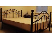 Double bed for sale with mattress (metal)
