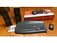 Microsoft wireless keyboard and Logitech stereo speakers
