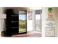 VISTA BLACK 203 Sturdy Free Standing Wooden Sliding Door Wardrobe SLIDER