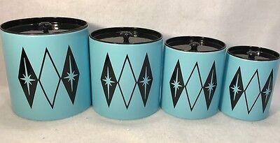 Vintage 50S 60S Small Mid Century Metal Aqua Blue Starburst Kitchen Canister Set