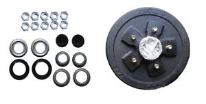 Complete-Trailer-5-x-4-5-Brake-Drum-Assembly-Axle-3500-with-Bearings