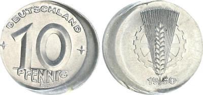 10 Pfennig DDR 1950 E 15% dezentriert fast Stempelglanz