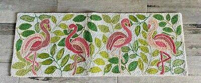 "COASTAL HOME Tropical Beaded Table Runner Pink-Green ""FLAMINGO'S"" 13"" X 36"" NWT"