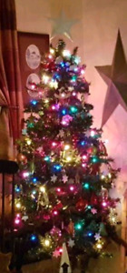 6ft artificial Christmas tree with multicolored lights